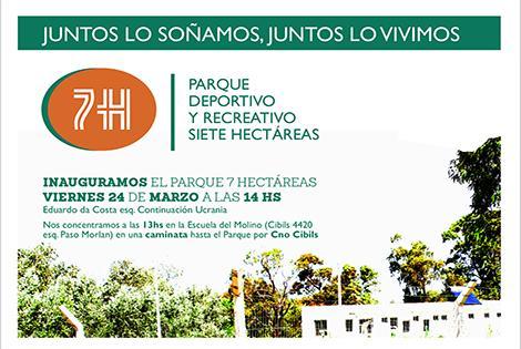 Inauguración del Parque Siete Hectáreas.-