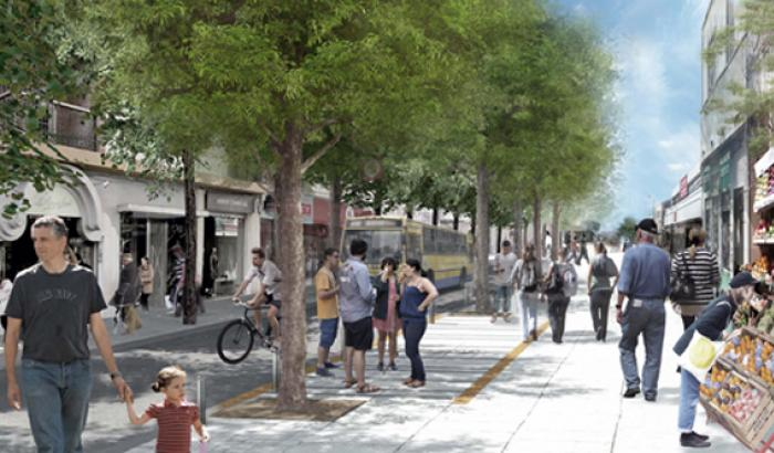 Semi peatonal sobre la calle Grecia