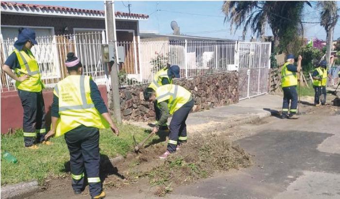 Vecinos y vecinas trabajando en la zona